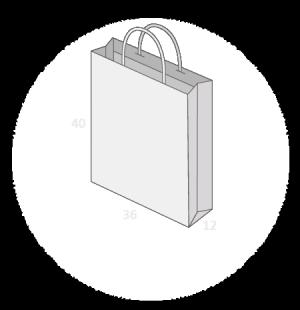 Sac publicitaire papier poignées torsadées ou coton avec revers taille 20