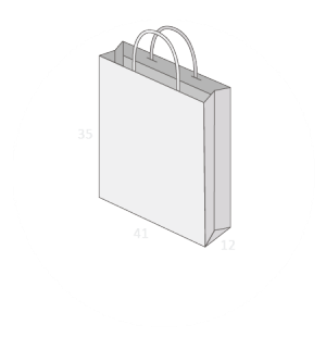 Sac publicitaire papier poignées torsadées ou coton avec revers taille 22