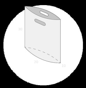 Sac plastique poignées découpées soufflet de fond taille 1