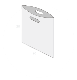 Sac plastique poignées découpées renforcées sans soufflet taille 1