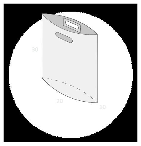 Sac plastique poignées découpées renforcées avec soufflet de fond taille 1