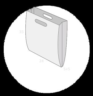 Sac plastique poignées découpées soufflets latéraux taille 2