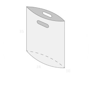 Sac plastique poignées découpées soufflet de fond taille 2