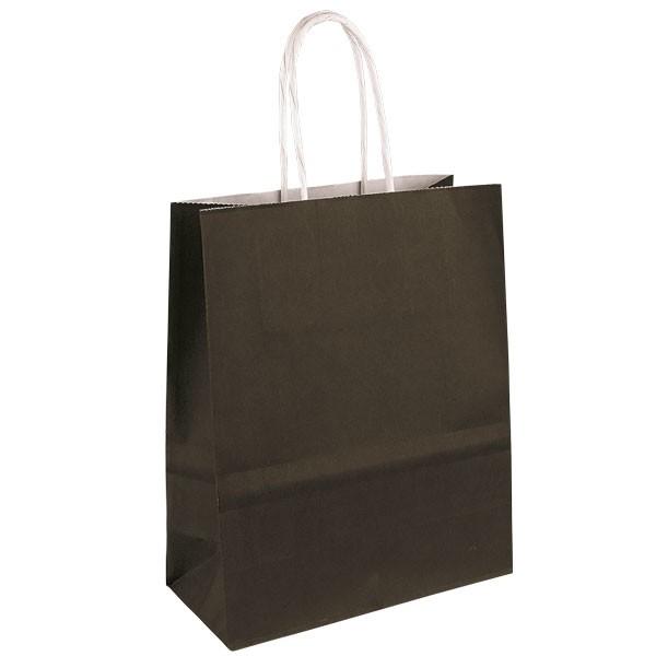 sac papier kraft publicitaire poign es torsad es couleur noire t2. Black Bedroom Furniture Sets. Home Design Ideas